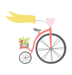 vintage bicycle with ribbon heart wheel and vector image