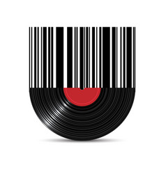 vinyl disk record with barcode vector image