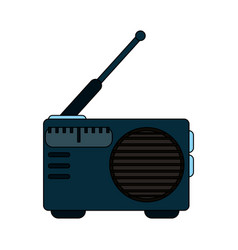White background with portable radio vector