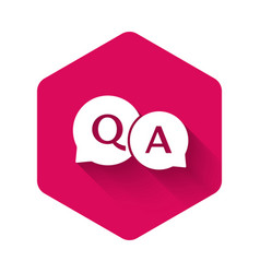 White speech bubbles with question and answer icon vector