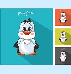 With a penguin icon vector