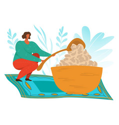 woman eating food addiction flat vector image