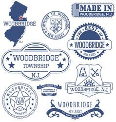 Woodbridge New Jersey stamsp and seals vector