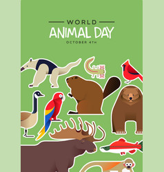 world animal day card cute wildlife stickers vector image