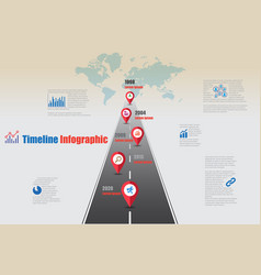 World road map timeline infographic vector