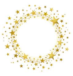 wreath golden stars vector image