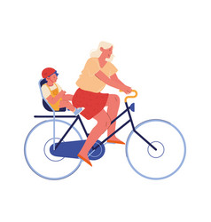 young mother and little bariding bicycle child vector image