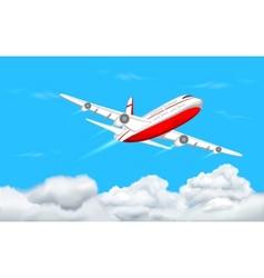 Airplane flying in sky vector