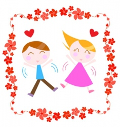 couple with floral border vector image