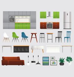 Kitchen furniture accessories flat set vector