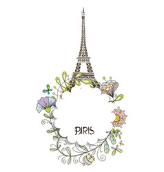 paris eiffel tower with a floral design vector image