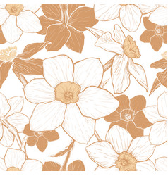 seamless pattern with flowers of narcissus vector image