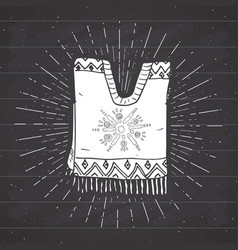 Vintage label hand drawn poncho mexican vector