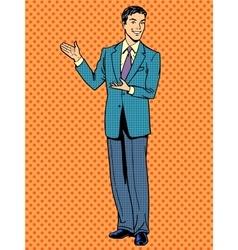 Businessman presentation gesture hands business vector image vector image