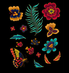butterfly with flowers embroidery elements vector image vector image