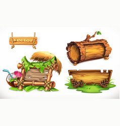 holidays in the summertime a wooden sign can be vector image vector image