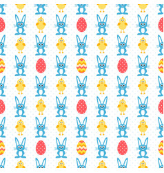 pattern with eggs blue rabbit and easter chick vector image