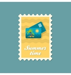 Card with palm flat stamp summertime vector image vector image