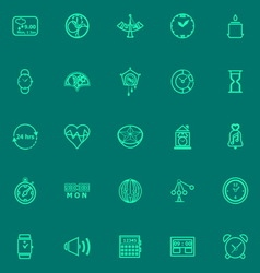 Design time green line icons vector image vector image