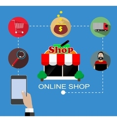 Flat design with e-commerce and online vector image vector image