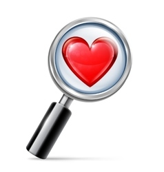 Magnifying Glass and Heart vector image vector image