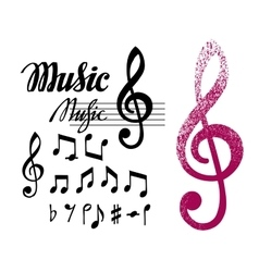 Notes and treble clef Set of music design vector image vector image