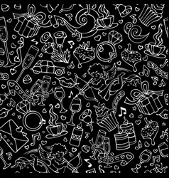 seamless chalk love pattern vector image