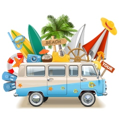 Beach Concept with Bus vector image vector image