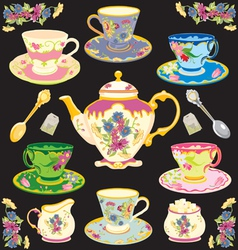 fancy victorian style tea set vector image vector image