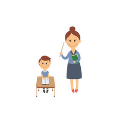 flat boy sitting at desk and teacher vector image vector image
