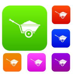 garden wheelbarrow set collection vector image