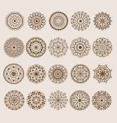 hand drawn henna abstract mandala pattern flowers vector image