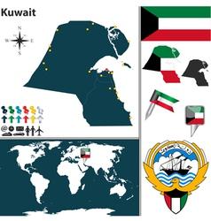 Kuwait map world vector image