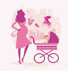 pregnant woman pushing a stroller abstract vector image