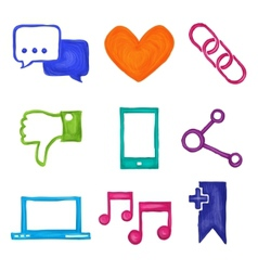 Social media icons painted vector image vector image