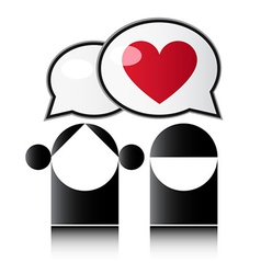 Two people with red heart vector image