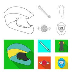 a wrench a bicyclist bone a reflector a timer vector image