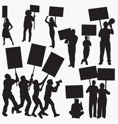 angry protestors silhouettes vector image