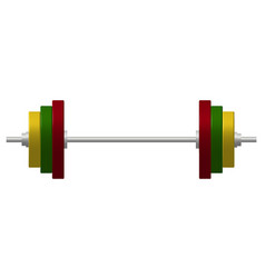 Barbell in silver and colourful design vector