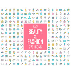 Beauty and fashion industry color icons big set vector