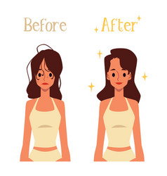 Before and after hair morning routine cartoon vector