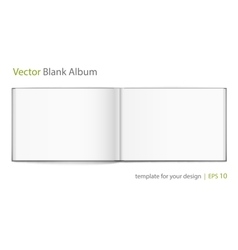 Blank of open album with cover on white background vector image