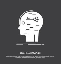 Brain hack hacking key mind icon glyph symbol for vector