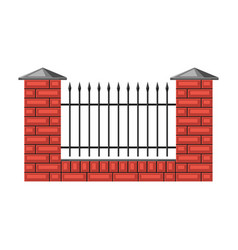 bricks fence with forging vector image