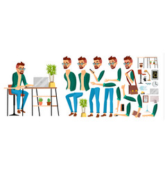 Business man worker character hipster vector