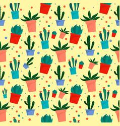 cactus pot pattern flat style vector image