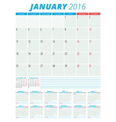 Calendar 2016 flat design template Set of 12 vector