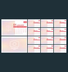 calendar 2019 template desk template set vector image