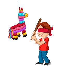 cartoon boy hitting pinata game vector image