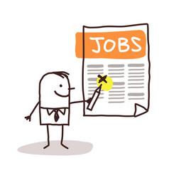 Cartoon man looking for a job in a newspaper vector